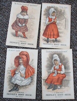 Four Victorian HEINLE'S ROOT BEER TRADE CARDS