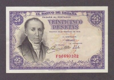 1946 25 Pesetas Spain Spanish Currency Banknote Note Money Bank Bill Cash Rare