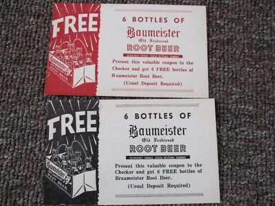 Two 1950s BAUMEISTER ROOT BEER COUPON CARDS
