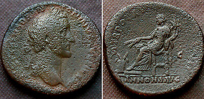ANTONINUS PIUS - SESTERTIUS, Rev. ANNONA SEATED