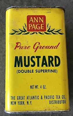 Vintage Spice Tin Ann Page 4 OZ 4 inches high Mustard Foot Bath Plaster Recipes
