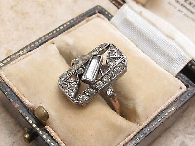 Vintage Antique 9ct 9k 375 Gold & Sterling Silver 925 & Diamond Paste Ring