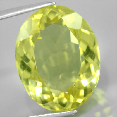 LARGE 14x10mm OVAL-FACET NATURAL AFRICAN LEMON CITRINE GEMSTONE