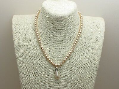 Vintage Retro 1950's Costume Pearl & Diamond Paste Drop Necklace 17 inches long