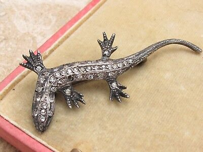 Vintage Antique Sterling Silver 925 & Diamond Paste Lizard Gecko Brooch
