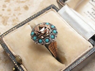 Vintage Antique Sterling Silver 925 & 9ct Gold Turquoise Ring