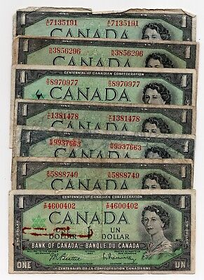 Lot Of 7 1954 And 1967 Bank Of Canada One $1 Dollar Bank Notes Nice Bills