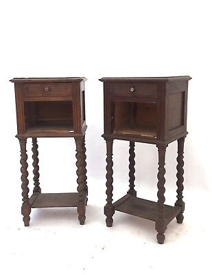 Pair of Antique French Solid Oak & Marble Barley Twist Bedside Cabinets Tables