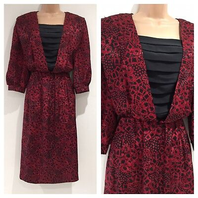 Vintage 80's Retro Red & Black Abstract Print Black Insert Day Dress Size 12