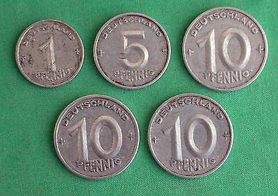 Lot 5 Coin German 1949 1950 Pfennig 5 and 10 Pfennig Germany Aluminum Coin Lot