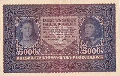 5000 Marek Vf Banknote From Poland 1920!pick-31!huge Sized