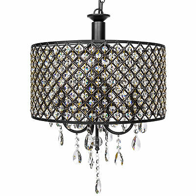 Dining Living Room Foyer 4-Light Crystal Round Chandelier Antique Classic Modern