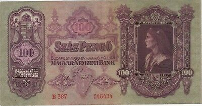 1930 100 Szaz Pengo Hungary Currency Banknote Note Money Bank Bill Cash Budapest