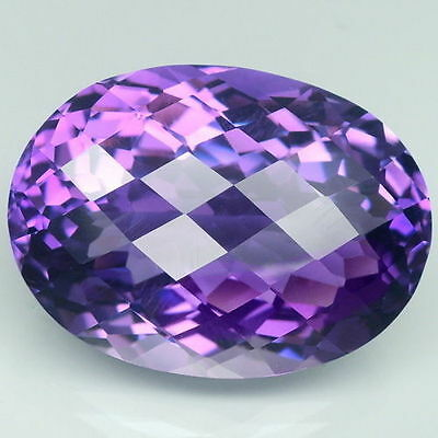 19.5x16mm OVAL-FACET CHECKER-CUT NATURAL AFRICAN AMETHYST GEMSTONE (APP £271)