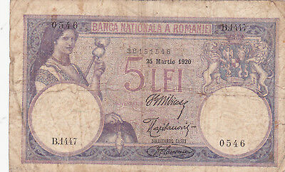 5 Lei Fine Banknote From Romania 1920!pick-19!