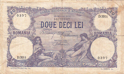 20 Lei Fine Banknote From Romania 1920!pick-20!