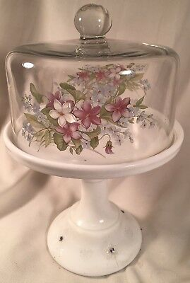 Milk Glass Cake Plate Stand Tray w/ Decorated Dome & Sand Carved w/ Snowflakes