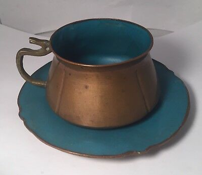 Chinese Copper And Enamel Vintage Antique Cup & Saucer