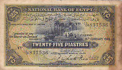 25 Piastres Vg Banknote From Egypt 1949!pick-10!rare
