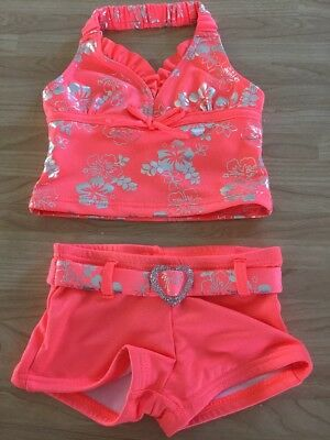 Lemon Kiss Baby Girl 2 Piece Bathing Suit Size 12 Months Coral NWT