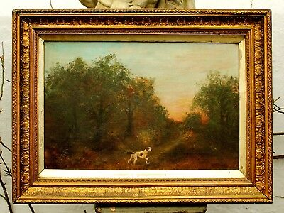 Fine Late C19th Victorian Oil on Canvas - English Pointer in Woodland