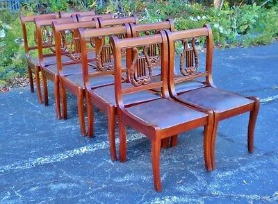 FINE SET 8 Regency Lyre back chairs leather seats