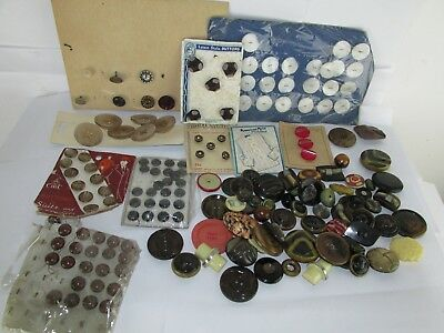 Mixed Lot of 300 antique vintage plastic Steel metal vegetable clothing buttons