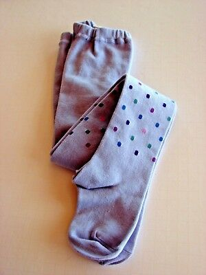 LL BEAN  Knit TIGHTS Size Medium 5/6 Polka Dot and Rear Flower Accent