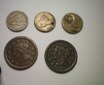 3 Cull Flying Eagle And 2 Cull Large Cents