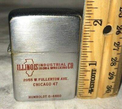 Antique Zippo Lighter Vintage Illinois Industrial Iron & Wrecking Chicago Il Red