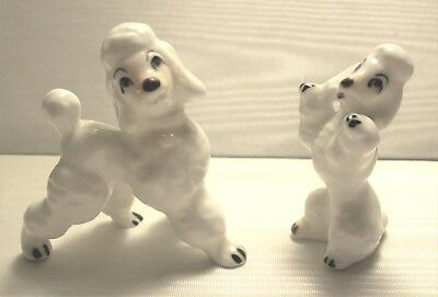 2 Vintage White French Poodle Dog Prancing Begging Ceramic Porcelain Figurines