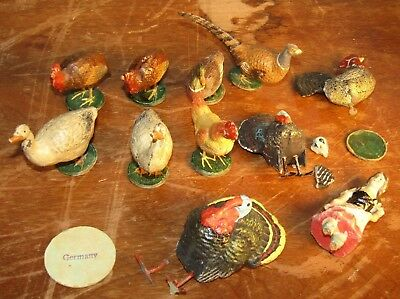 Antique Farm Animal Birds Composite & Metal Legs Putz? Lot Of 11