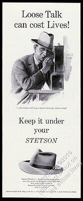 1943 Nazi spy art Keep It Under Your Stetson hat vintage print ad