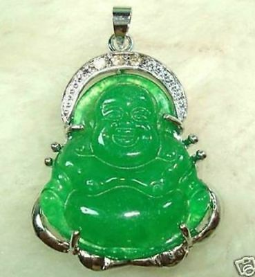 Chinese Green Jade Buddha Pendant Necklace