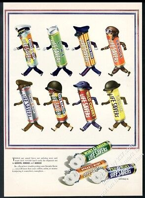 1943 Life Savers candy US Army Navy Marines USAF roll theme vintage print ad