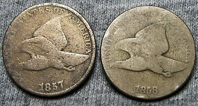 1857 + 1858 Flying Eagle Cents --- TYPE COINS LOT --- #U745