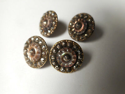 """Victorian Antique Buttons Carved MOP Pearl & Cut Steel Matching Lot of 4 1/2"""""""