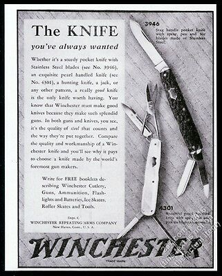 1930 Winchester folding pocket knife stag and pearl handle pic vintage print ad