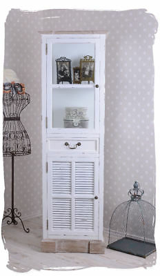 Glass-Front Cabinet Shabby Chic White Glass Display Country House Style