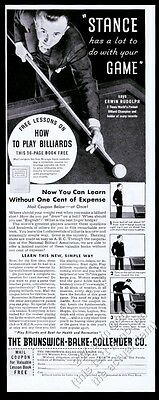 1934 Erwin Rudolph photo Brunswick Billiards pool table vintage print ad