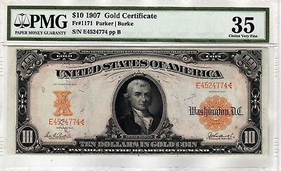 Fr.1171 $10 1907 GOLD CERTIFICATE PMG CHOICE VERY FINE 35 BEAUTIFUL NOTE !!