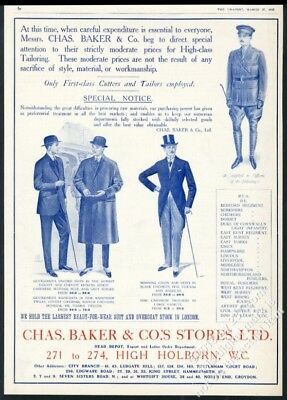1915 English Army officer uniform men's formal clothes Chas Baker BIG UK ad