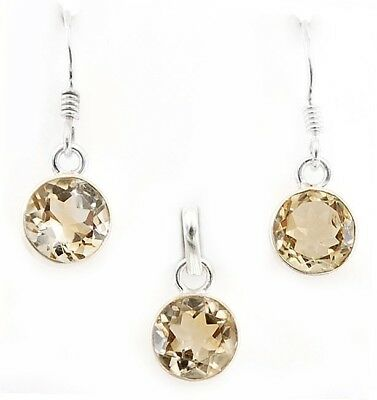 5CT Citrine 925 Solid Sterling Silver Earrings, Pendant Set Jewelry