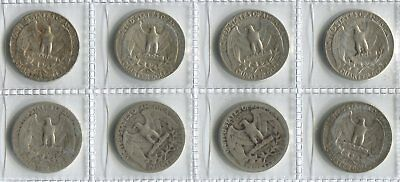 USA Silver Quarter Dollar Coins - Selection of 8 x Different Dates