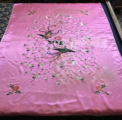 """Antique Chinese Qing Dynasty Hand Embroidery Panel Wall Hanging 55"""" By 75"""""""