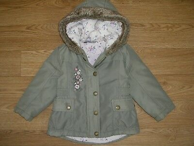 GEORGE Girls Khaki Green Winter Coat Hooded Jacket Anorak Age 12-18m