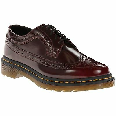 Dr.Martens Vegan 3989 5-Eyelet Cherry Red Mens Cambridge Brush Brogues Shoes