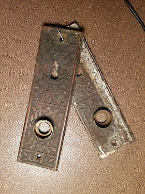 Set of (2) ANTIQUE ARCHITECTURAL ORNATE BRASS DOOR KNOB PLATE SHIELD KEY HOLE