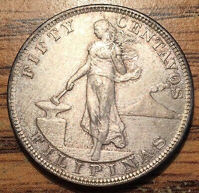 1903 Silver Philippines 50 Centavos US Administration Condition AU /Uncirculated
