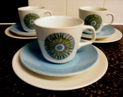 Three Retro J & G Meakin Aztec Trio's Cup, Saucer And Tea Plate